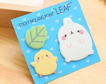 "E015 Sticky Molang Point ""LEAF"" Sticky Notes, Post It Notes, Cute Sticky Notes, Stationery, Korean Sticky Notes, Duck notes, note pad"