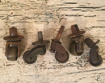 5 Vintage Industrial Caster Wheels - Extra Small