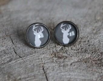 Petites merveilles chevreuil // earrings // fait au quebec   (BO-1207)