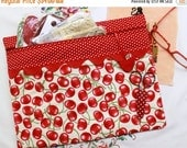 SALE Red Cherries Cross Stitch, Sewing, Embroidery Project Bag