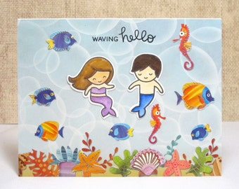 Hello Card- Waving Hello- Mermaid Hello Card- Just Because Card- Any Occasion Card