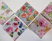 Ladies Handkerchief set of 5, Vintage inspired hankerchiefs, variety of floral hankies colors as shown, gift set, Handmade in the USA