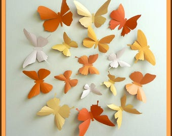 3D Wall Butterflies - 15 Pumpkin, Light Mustard, Light Peach, Orange Butterfly Silhouettes, Home Decor