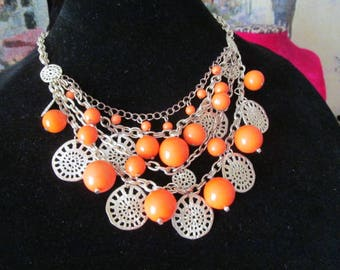 Orange Gold Tone Beaded Bib Style Necklace Chain Links