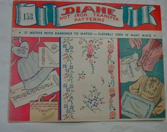 Vintage Pattern c.1950's  Embroidery Transfer by Diane Patterns, 31 Motifs with Bandings, Unused
