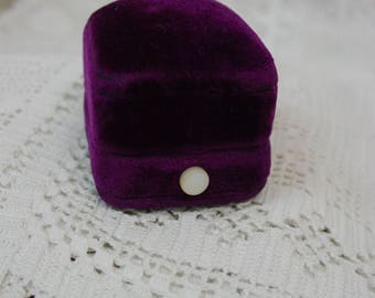 Antique Vintage Ring Presentation Box, Purple Velvet, Pearl Button Opener, Beautiful