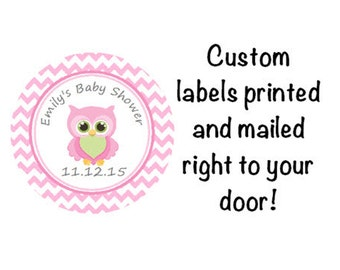 Baby Shower Printed Pink Owl Round Party Stickers for Party Favors - Adorable Pink Owl Chevron Labels   **Discounts Available