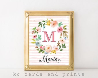 Pink Floral Monogram, Maria Name Art, Nursery Monogram, Personalized, Wall Art, Wall Decor, Art Print, Digital File, Instant Download