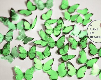 """48 small green edible butterflies, 1/2""""- 3/4"""" wide. Multi colors available. For cakes or cupcake toppers, cake pops or smash cake topper"""