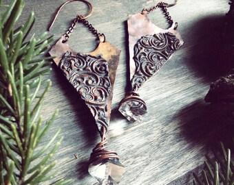Copper earrings, wire wrap earrings, rustic Jewelry, dangle earrings, Jewelry handmade, rustic earrings, boho earrings