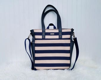WATERPROOF Navy and Cream Stripes 3-in-1 Convertible Backpack Diaper Bag/Nappy Bag