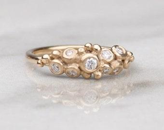 Diamond Engagement Ring - Diamond Ring - Pebble Cluster Ring - Gold Ring - Alternative Engagement Ring - Unusual Diamond Ring - Handmade
