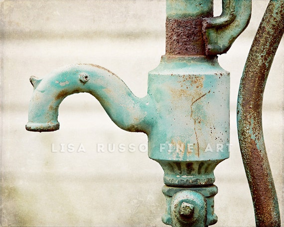 Water Faucet Print or Canvas Art, Aqua Bathroom Decor, Laundry Room, Rustic Kitchen Decor, Water Pump Picture, Rustic Bathroom Art.