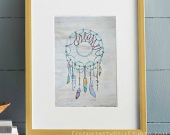 Dreamcatcher Cardstock Art Print with feathers and beads