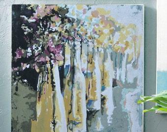 Flower Bottles, Canvas Print. vintage cottage abstract art