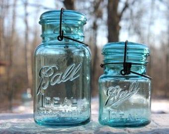 2 Vintage Aqua Ball Ideal Jars ~ 1 Quart & 1 Pint Jar - Ball Glass Jar and Lid w/Wire Bail - Farmhouse Country Decor ~ Insurance w/ Shipping