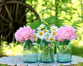 3 Vintage Ball Perfect Mason Aqua Pint Jars NO Lids - Farmhouse Collectible -  Wedding Decor - Home & Event Decor - Insurance w/Shipping