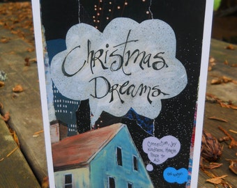 """Christmas Card, """"CHRISTMAS DREAMS"""", Holiday Card, Winter Card, Mixed Media Card, Red Wagon, Peace  by Seattle Artist Mary Klump"""