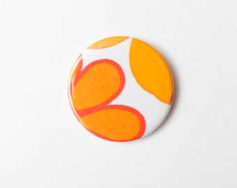 Orange Petals - A Pocket Mirror made from Vintage Fabric, 58mm 2.3 Inches, Vintage Floral