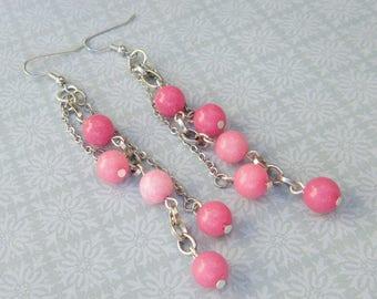 Pink Jade Bead Dangle Earrings, Jade Bead Long Earrings, Pink and Silver Dangle Earrings, Mango Tease, FREE US SHIPPING