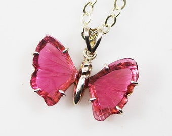 Pink Tourmaline Butterfly Sterling Silver Pendant