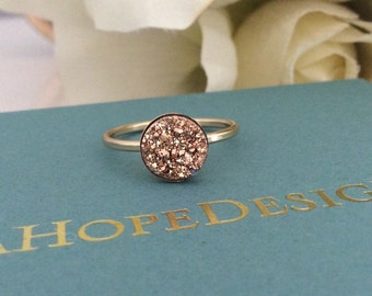 Rose Gold Druzy ring, gifts for her, Bridesmaid gifts, Mothers Day gift, Best friend gift, best selling items