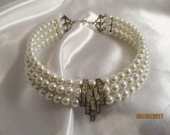 Bridal Faux Pearl Triple Strand Memory Wire Choker Necklace with Channel Set Rhinestones / Vintage Bridal Choker Necklace