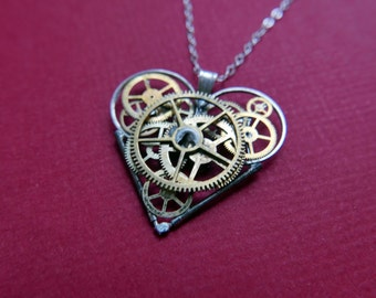 "Clockwork Heart Necklace ""Whitman"" Steampunk Watch Parts Industrial Pendant Sculpture Gershenson-Gates Mechanical Mind Christmas Gift Idea"
