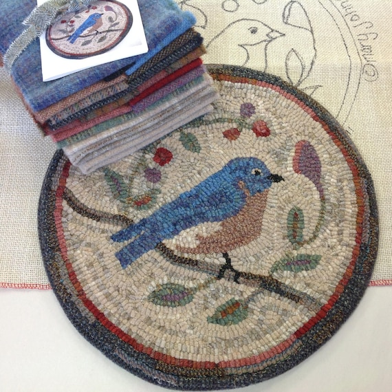 "Rug Hooking KIT, Bluebird Chair Pad or Table Mat 14"" Round, K110, Folk Art Bluebird, Primitive Rug Hooking Bluebird"
