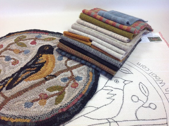 "Rug Hooking KIT, Oriole Chair Pad or Table Mat 14"" Round, K111, Folk Art Oriole, Rug Hooked Oriole, Bird Folk Art"