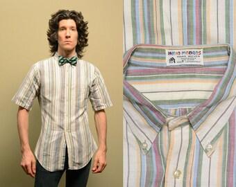 vintage madras shirt 60s short sleeve button down stripe India Madras preppy prep trad 1960 menswear small slimfit tapered S
