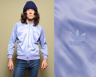 vintage 80s Adidas track jacket 1980s warm up jacket lavender purple 1980 Adidas jacket Made in USA M/L