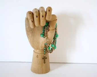 French Vintage bracelet charm religious rosary repurposed assemblage green jade pieces