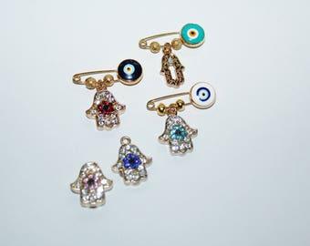 Hamsa Charm brooch, Baby pin, baby brooch, charm collection brooch, safety pin charm collection, evil eye brooch, Heart brooch, Love, Hamsa