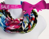 Short Silky Infinity Scarf Tropical Pink, Aqua, Black, Soft Blue and Yellow ~ SK105-S5
