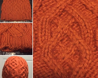 Orange Cabled Beanie
