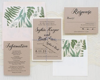 "Romantic Garden Wedding Invitations, Fern Envelope Liner, Taupe, Blush, Ivory - ""Simple Script"" Sample"