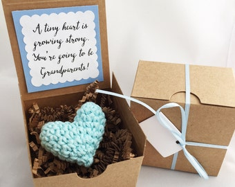 Blue Heart Hand Crocheted: baby announcement, pregnancy announcement, you are going to be a grandmother, new baby