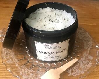 ORANGE BASIL Vegan Salt Scrub 10oz ~ uplifting & fresh herbal citrus scent ~ naturally exfoliating spa body dead sea scrub ~ luxury gift