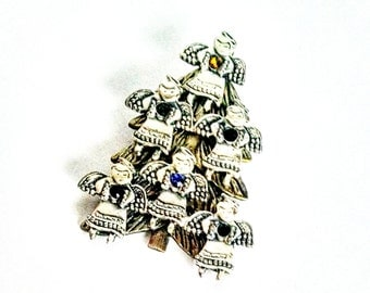 Six Angels Christmas Tree Pin Brooch Silver Gold Tone Rainbow Rhinestones Vintage Jewelry Jewellery Gift Guide Women 1990s Signed KC