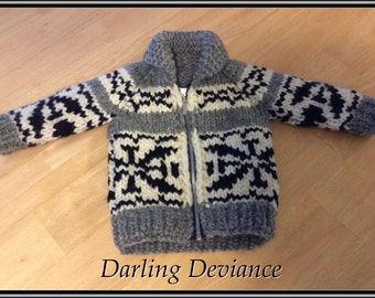 Child's Sized Vintage Canadian Style Wool Sweater - Your Choice of Pattern!
