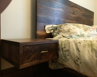 Mid century inspired walnut platform bed with floating nightstands