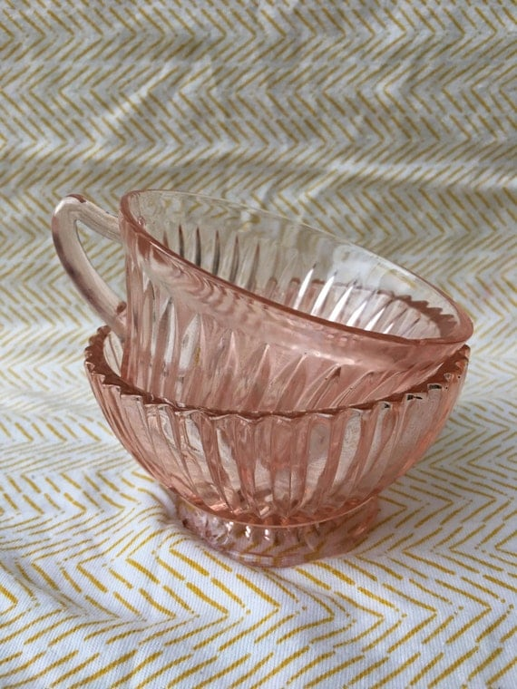 vintage queen mary pink depression dish set