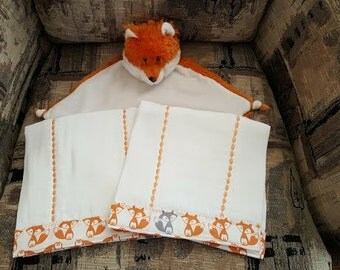 Cubbies Fox Security Snuggle Blanket Burp Cloths Set Unisex Baby Gift Set Personalized Baby Gift Fox Cubby Gift Set