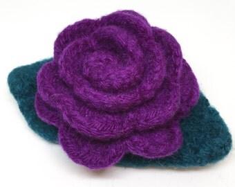 Purple Rose Felted Wool Flower Brooch  with Dark Teal Leaves
