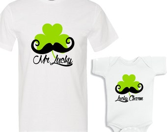 Mr. Lucky Saint Patrick'c Day Daddy and Me White Shirts Set