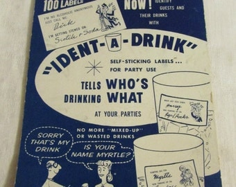 Saphire Products 1960 'Ident-A-Drink' Labels