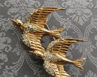 On Sale Antique Coro Craft Sterling Heavenly Swallows Duet Brooch Vermeil Rhinestone Birds Pin Jewelry Pegasus Makers Mark