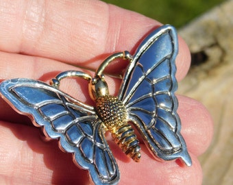 Vintage Silver and Gold Tone Butterfly Necklace Slide or Belt Buckle?