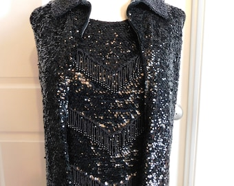Vintage 1960s Jo Ro Imports Boutique 2 Piece Black Beaded Shell and Vest Blouse